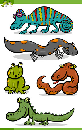 Cartoon Illustration of Funny Reptiles and Amphibians Set Vector