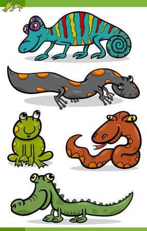 salamandra: Ilustración de dibujos animados divertidos Reptiles y anfibios Set Vectores