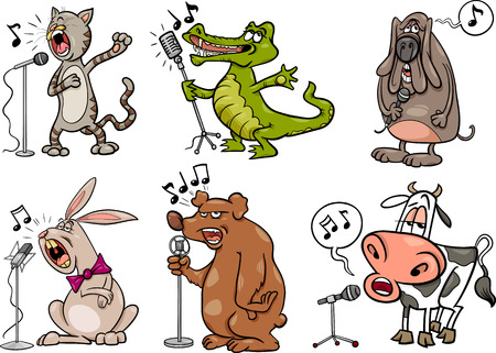 Cartoon Illustration of Funny Singing Animals Characters Set Ilustração