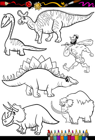 Coloring Book or Page Cartoon Illustration Set of Black and White Dinosaurs and Prehistoric Animals Characters for Children Vector