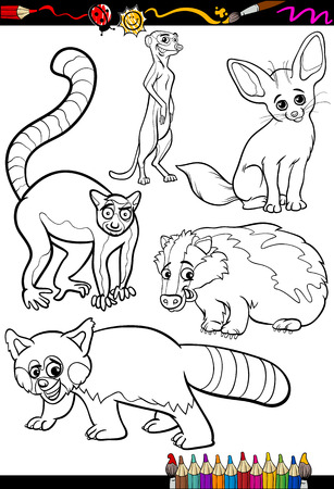 Coloring Book or Page Cartoon Illustration Set of Black and White Wild Animals Characters for Children Vector