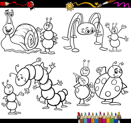 page long: Coloring Book or Page Cartoon Illustration Set of Black and White Insects and Bugs or Fantasy Characters for Children
