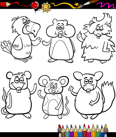 Coloring Book or Page Cartoon Illustration Set of Black and White Cute Pets Animals Characters for Children Vector