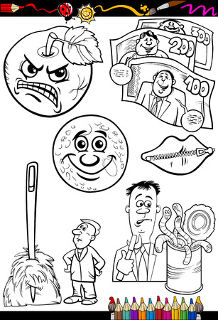 zipped: Coloring Book or Page Cartoon Illustration Set of Black and White Proverbs or Sayings for Children