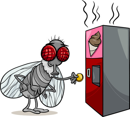 poo: Cartoon Illustration of Funny Fly and Vending Machine with Poo Snack