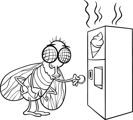 Black and White Cartoon Illustration of Funny Fly and Vending Machine with Poo Snack for Coloring Book Vector