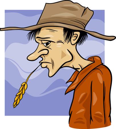 hombre pobre: Ilustración de dibujos animados Farmer o Cowboy en el oído del sombrero ans de Grano
