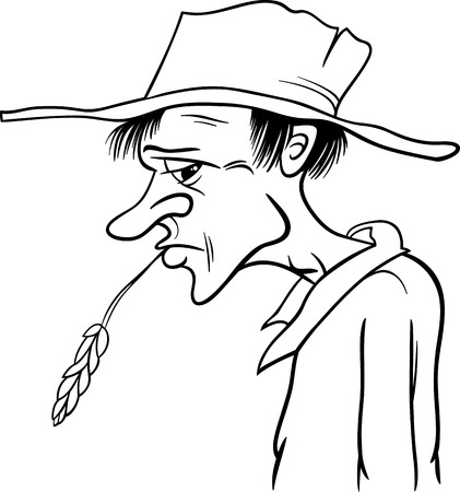 Black and White Cartoon Illustration of Farmer or Cowboy in the Hat ans Ear of Grain for Coloring Book Vector