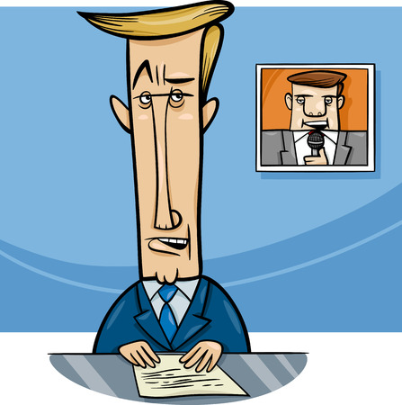 telecast: Cartoon Illustration of Television Speaker or Broadcaster on the Air