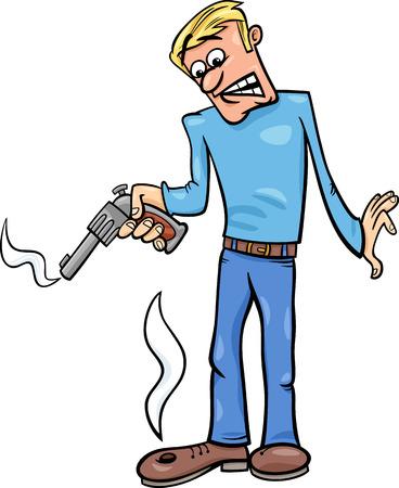 sparare: Fumetto Umorismo illustrazione del concetto di Shooting in un piede Dire o Proverbio