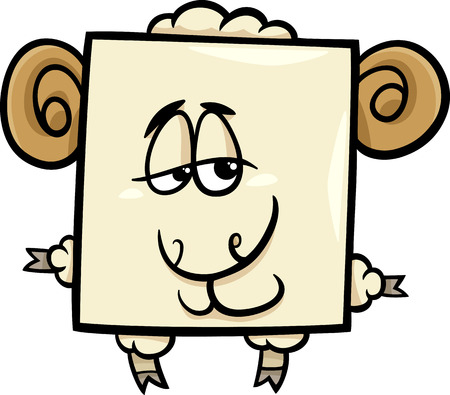 sheep wool: Cartoon Illustration of Funny Square Ram Character