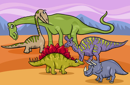 Cartoon Illustration of Funny Prehistoric Dinosaurs Characters Group Vector