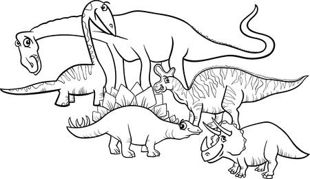 mesozoic: Black and White Cartoon Illustration of Funny Prehistoric Dinosaurs Characters Group for Coloring Book Illustration