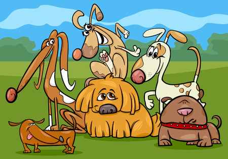 Cartoon Illustration of Funny Dogs Characters Group Illustration