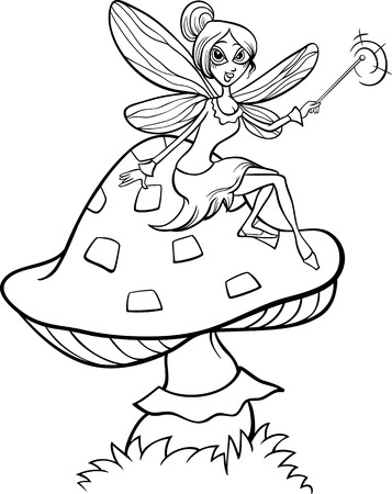 a toadstool: Black and White Cartoon Illustration of Cute Elf Fairy Fantasy Character on Toadstool Mushroom for Coloring Book
