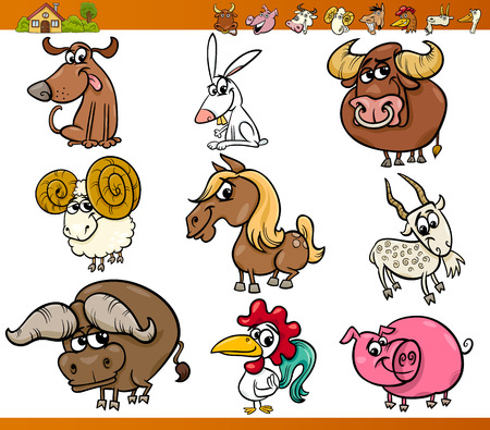 Cartoon Illustration Set of Cute Farm Animals Characters Vector