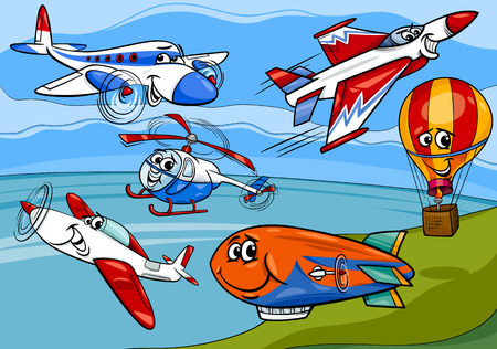 Cartoon illustratie van grappige Planes en Aircraft Characters Group Stock Illustratie