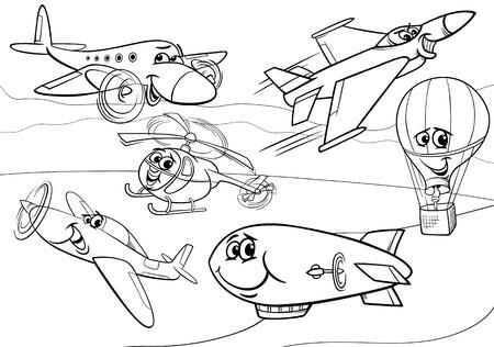 libro caricatura: Blanco y negro de dibujos animados Ilustración de Planes y divertidos personajes de aeronaves de grupo para Coloring Book