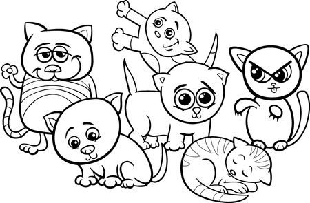 Black and White Cartoon Illustration of Cute Funny Kittens or Cats Group for Coloring Book Vector