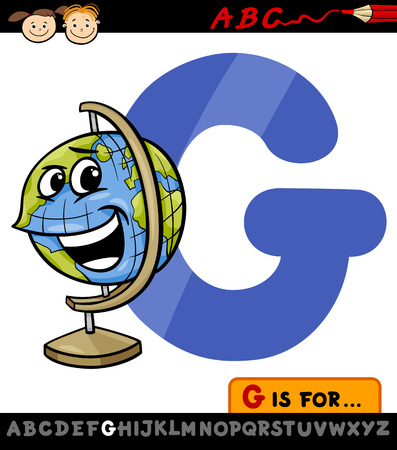 Cartoon Illustration of Capital Letter G from Alphabet with Globe for Children Education Vector