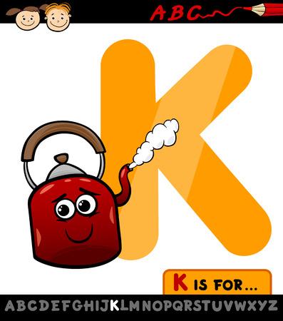 buchstabe k: Cartoon Illustration der Gro�buchstabe K aus Alphabet mit Wasserkocher f�r Kinder Bildung