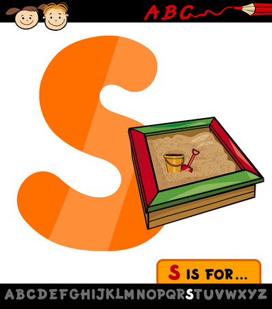 Cartoon Illustration of Capital Letter S from Alphabet with Sandbox for Children Education Vector