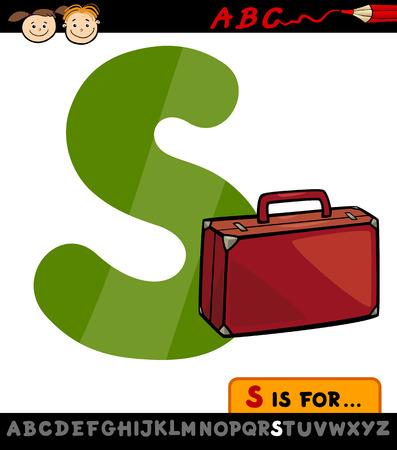 children education: Ilustraci�n de dibujos animados May�scula S del alfabeto con la maleta para la Educaci�n Infantil