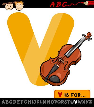 letter v: Cartoon Illustration of Capital Letter V from Alphabet with Violin for Children Education Illustration