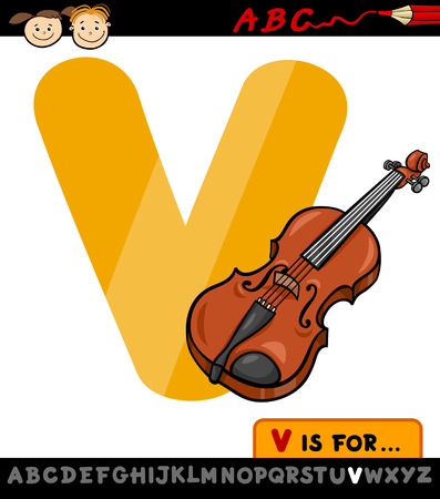 Cartoon Illustration of Capital Letter V from Alphabet with Violin for Children Education Illustration