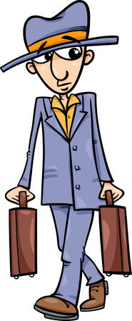 vigilant: Cartoon Illustration of Funny Man with Suitcases Illustration