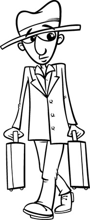 watchful: Black and White Cartoon Illustration of Funny Man with Suitcases for Coloring Book Illustration