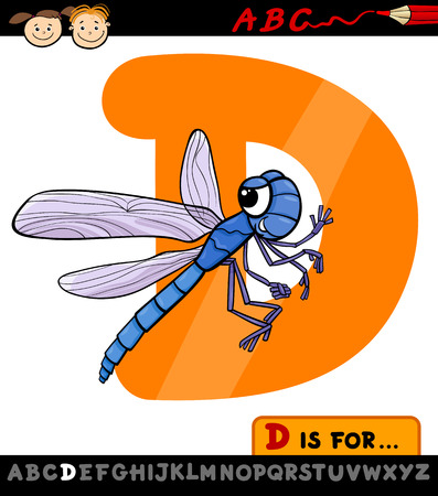 Cartoon Illustration of Capital Letter D from Alphabet with Dragonfly for Children Education Stock Vector - 28029763