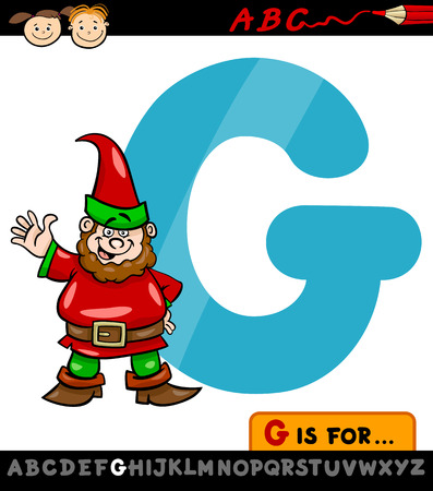 Cartoon Illustration of Capital Letter G from Alphabet with Gnome for Children Education Vector