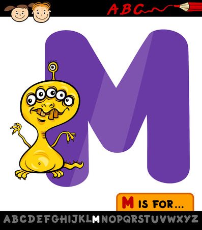 Cartoon Illustration of Capital Letter M from Alphabet with Monster for Children Education Stock Vector - 28029771