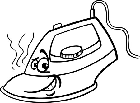 steam iron: Black and White Cartoon Illustration of Hot Iron Funny Character for Coloring Book