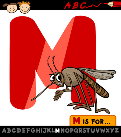Cartoon Illustration of Capital Letter M from Alphabet with Mosquito for Children Education Vector