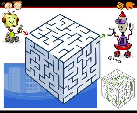 재미 있은 로봇과 취학 전 아동에 대한 교육 미로 미로 게임의 만화 그림 일러스트