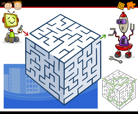 Cartoon Illustration of Education Maze or Labyrinth Game for Preschool Children with Funny Robots Illustration