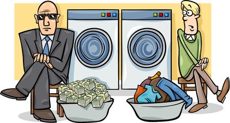 マネーロンダ リングと言ったりことわざの漫画ユーモアの概念図  イラスト・ベクター素材