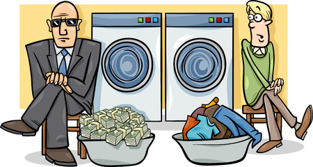 laundering: Cartoon Humor Concept Illustration of Money Laundering Saying or Proverb