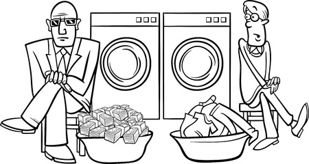 laundering: Black and White Cartoon Humor Concept Illustration of Money Laundering Saying or Proverb Coloring Book Illustration