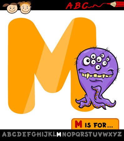 Cartoon Illustration of Capital Letter M from Alphabet with Monster for Children Education Stock Vector - 28100676