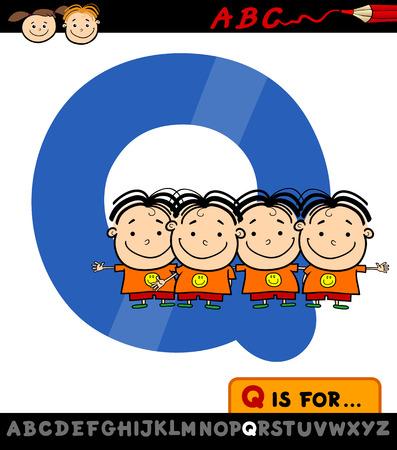 spelling book: Cartoon Illustration of Capital Letter Q from Alphabet with Quadruplets for Children Education