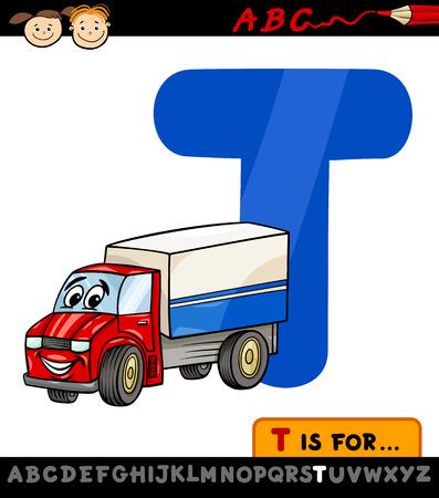 children education: Ejemplo de la historieta de El Capital de la letra T del alfabeto con el carro de la Educaci�n Infantil Vectores