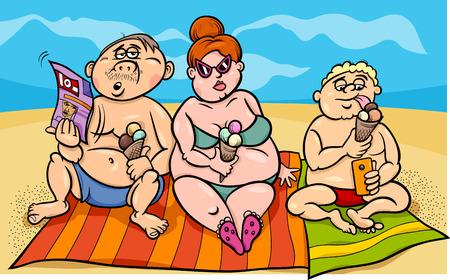 donna con telefono: Cartoon Humor Illustrazione di sovrappeso Famiglia sulla spiaggia Vettoriali