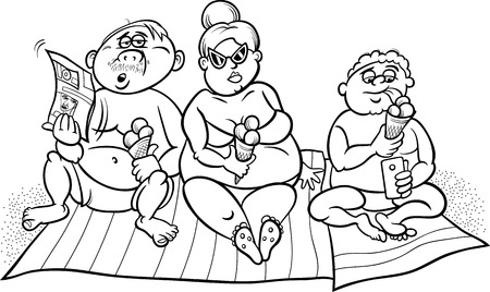 Black and White Cartoon Humor Illustration of Overweight Family on the Beach for Coloring Book Vector