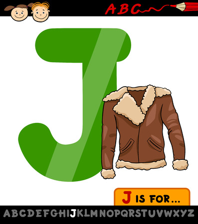 Cartoon Illustration of Capital Letter J from Alphabet with Jacket for Children Education Vector