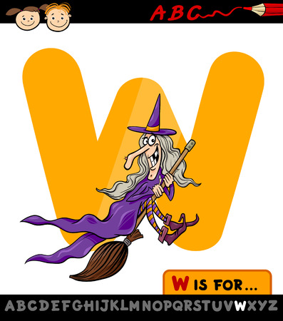Cartoon Illustration of Capital Letter W from Alphabet with Witch for Children Education Vector
