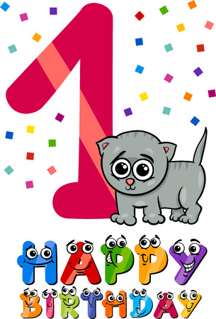 first birthday: Cartoon Illustration of the First Birthday Anniversary Design for Children Illustration