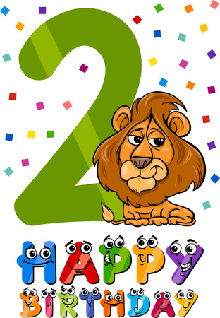 second birthday: Cartoon Illustration of the Second Birthday Anniversary Design for Children